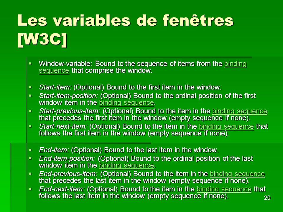 Les variables de fenêtres [W3C]